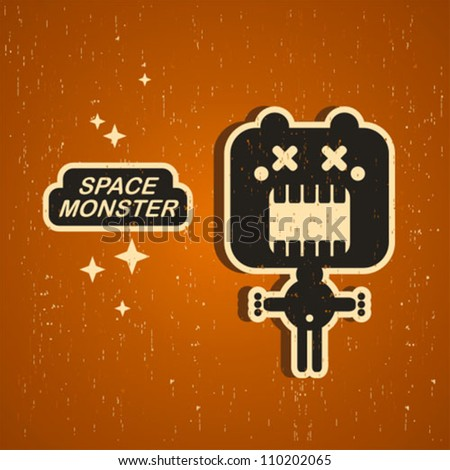 Vintage monster. Retro robot illustration in vector.