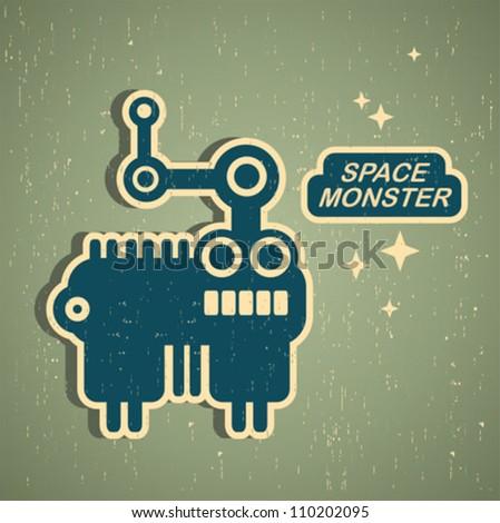 Vintage monster. Retro robot illustration in vector.