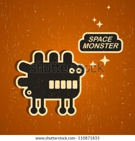 Stock Photo Vintage monster. Retro robot illustration in vector.