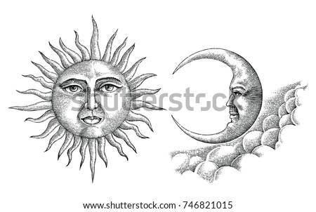 vintage moon and sun hand...