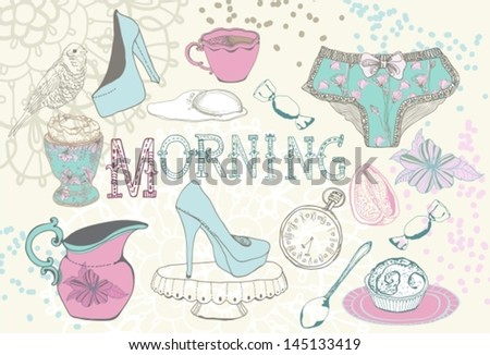Vintage morning breakfast background. Illustration for design, VECTOR