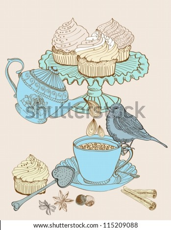 vintage morning tea background. Illustration for design,vector - stock vector