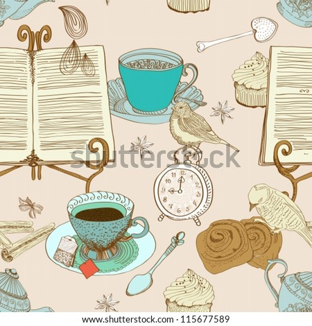 vintage morning tea background. seamless pattern for design,vector illustration