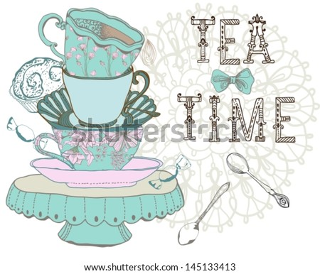 Vintage morning tea time background. Illustration for design, VECTOR