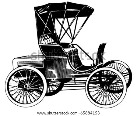 Vintage Motor Car - Retro Clipart Illustration