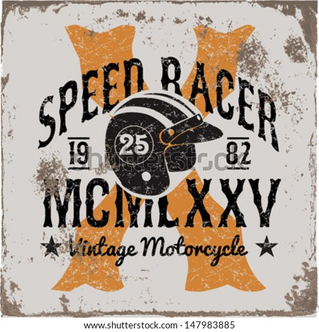 vintage motorbike race   hand...