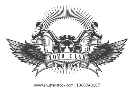 Vintage motorcycle club emblem. Motorcycle with wings. Vector illustration.