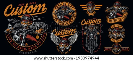Vintage motorcycle designs collection with ferocious tiger biker labels and emblems isolated vector illustration