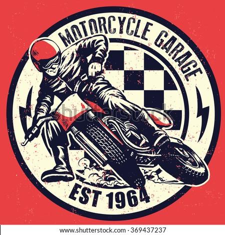 vintage motorcycle garage...