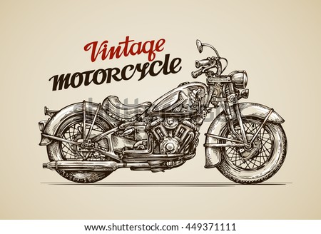 vintage motorcycle. hand drawn...