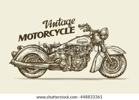 vintage motorcycle hand drawn