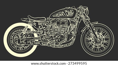 vintage motorcycle hand drawn