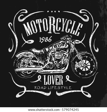 Vintage Motorcycle hand drawn vector t-shirt.