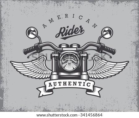 vintage motorcycle print with