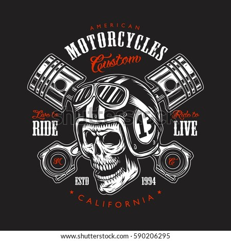 Vintage motorcycle print with skull in motorcycle helmet and crossed pistons and typography.