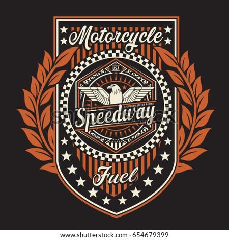 Vintage motorcycle speedway typography, tee shirt graphics, vectors