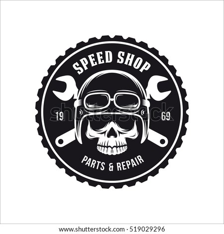Vintage motorcycle t-shirt graphics. Bike shop advertising emblem. Vector illustration.