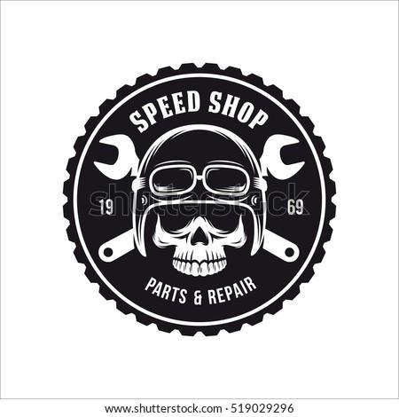 Vintage motorcycle t-shirt graphics. Bike shop advertising emblem. Vector illustration.