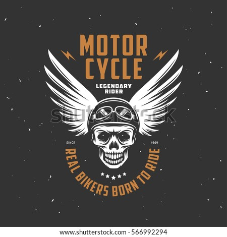 Vintage motorcycle t-shirt graphics. Real bikers born to ride. Legendary rider quote. Biker t-shirt. Motorcycle emblem. Monochrome skull. Vector illustration.