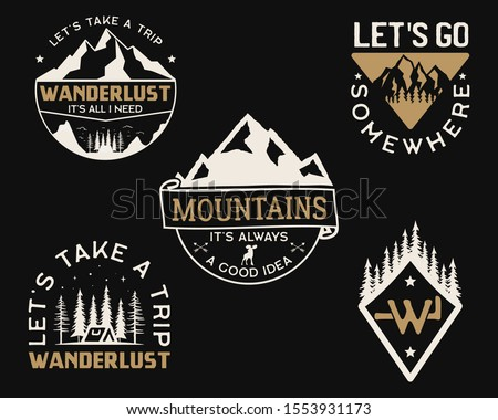 Vintage mountain camp logos, adventure badges set. Hand drawn labels designs. Travel expedition insignias, wanderlust and scouting. Outdoor emblems. Logotypes collection. Stock vector