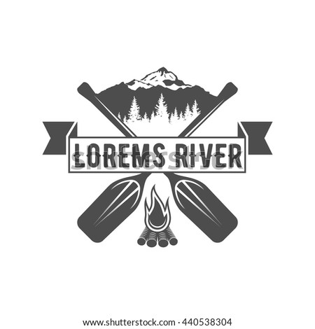 vintage mountain, rafting, kayaking, paddling, canoeing camp logo, label and badge Stylish Monochrome design. Outdoor activity theme. Summer and winter vacation insignia