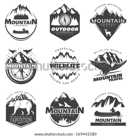 vintage mountains logos set for ...