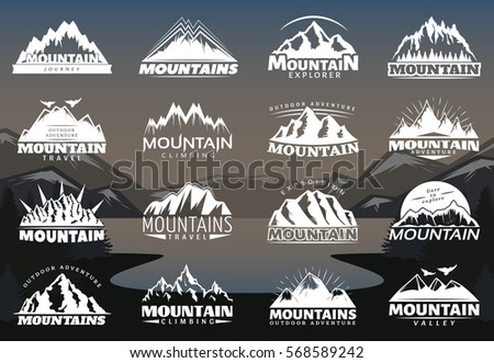 vintage mountains logotypes for ...