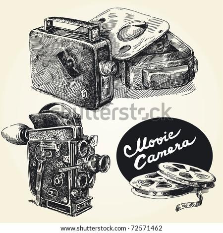 vintage  movie cameras-original hand drawn collection