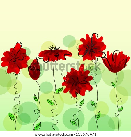 Vintage multicolor floral design. Vector format EPS10, contains elements of transparency. - stock vector