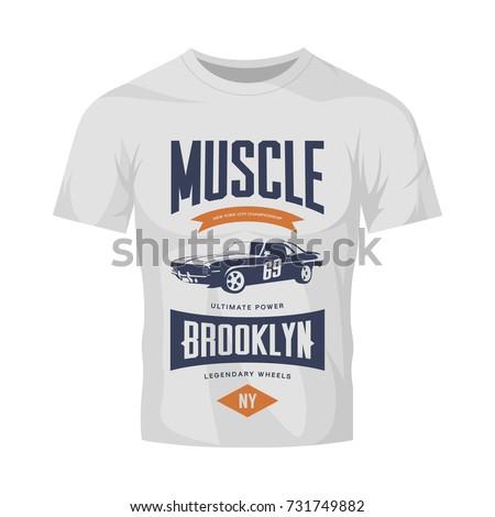 vintage muscle car vector logo
