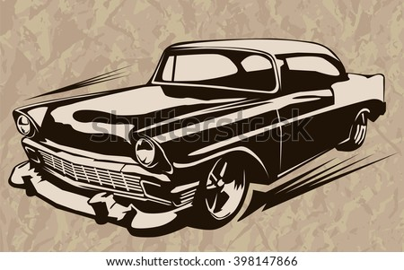 Vintage muscle cars inspired cartoon sketch. Vector abstract old school muscle car. Vector image can be used for posters and printed products.