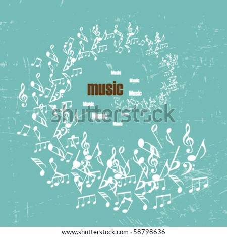 vintage music background with clefs