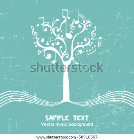 vintage music tree   retro