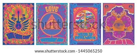 Vintage Musical Posters, Covers Stylization, 1960s, 1970s Psychedelic Backgrounds, Peace Symbol, Eye Triangle, Guitar, Floral Decorations