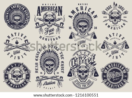 Vintage native american indians labels set with skull in feather headwear crossed smoking pipes arrows tomahawks isolated vector illustration