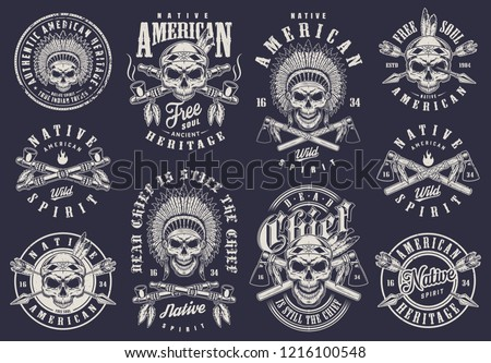 Vintage native american logos collection with indian chief and warrior skulls arrows tomahawks smoking pipes in monochrome style isolated vector illustration