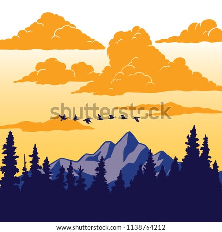 Vintage Nature Poster - Birds flying over mountain Nature scene illustration with mountain, trees, birds, and clouds.