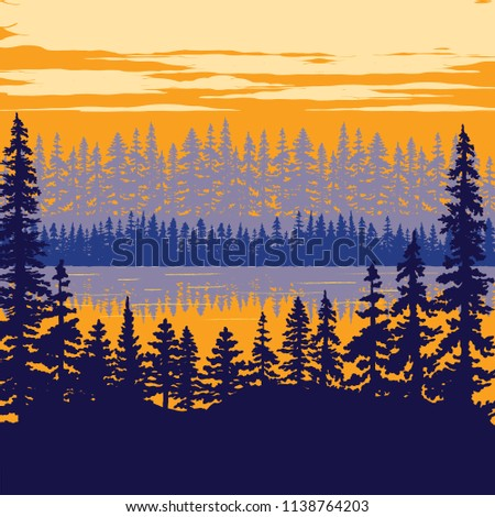 Vintage Nature Poster - Trees on Lake Nature scene illustration with, trees, lake and clouds.