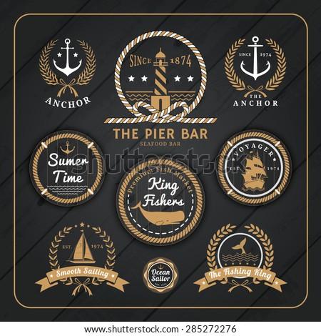 vintage nautical anchor labels