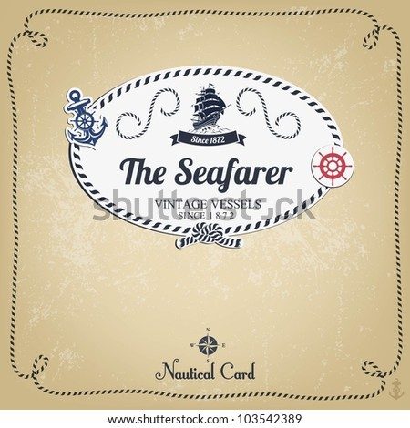 Vintage Nautical Vector Vintage Nautical Card With