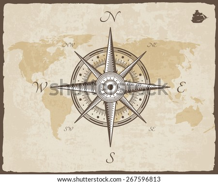Vintage Nautical Compass Old Map Vector Paper Texture With Torn Border Frame Wind Rose