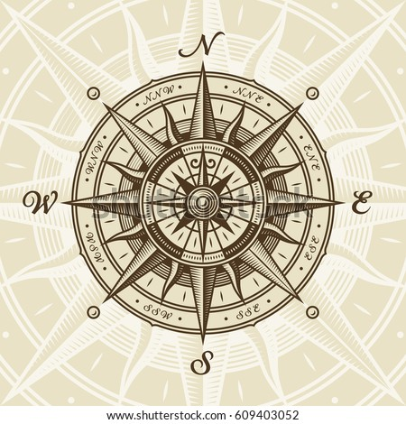 Vintage Nautical Compass Rose Vector Illustration In Retro Woodcut Style With Clipping Mask