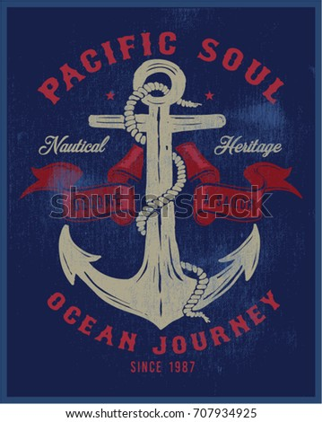 Vintage nautical graphics and Emblem with grunge background.