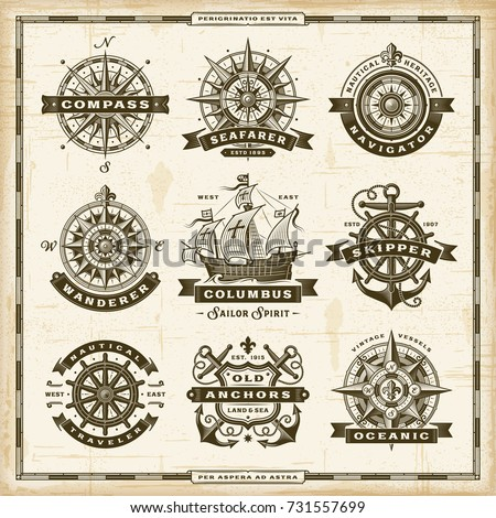Vintage nautical labels collection. EPS10 vector illustration in retro woodcut style with transparency. #731557699