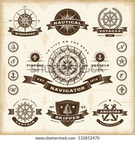 vintage nautical labels set....