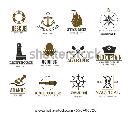 Vintage nautical, marine sailing, sea vessel vector labels, badges, logo. Sea marine logo, atlantic sea label illustration.