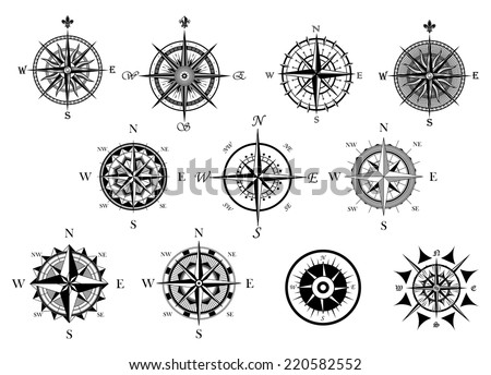 stock-vector-vintage-nautical-or-marine-wind-rose-and-compass-icons-set-for-travel-navigation-design