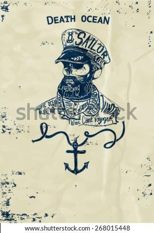 vintage naval skull emblem