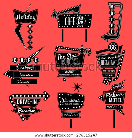 vintage neon sign,road trip,black and whit old sign