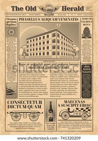 vintage newspaper vector...
